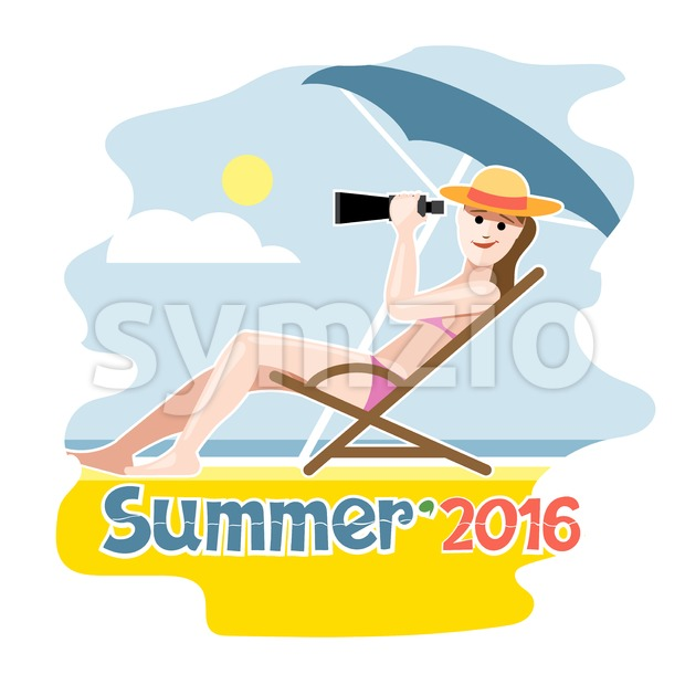 Summer 2016 flyer with a girl lying on a beach chair with hat Stock Vector