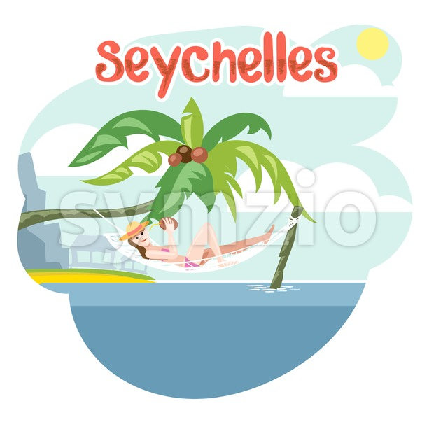 Seychelles flyer with a girl lying on a beach chair with hat Stock Vector