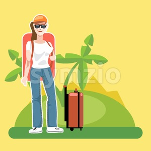 A girl tourist with luggage arriving at the beach with palm trees Stock Vector