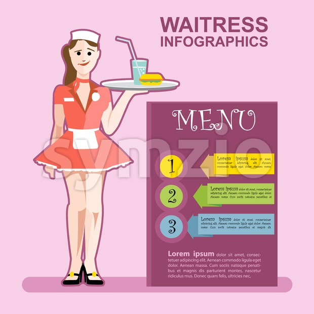 Waitress girl in red wearing cook with a cocktail in a pink restaurant presenting menu infographics