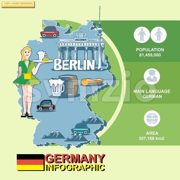 Germany, country infographic and statistical data with best sights, digital vector image Stock Vector