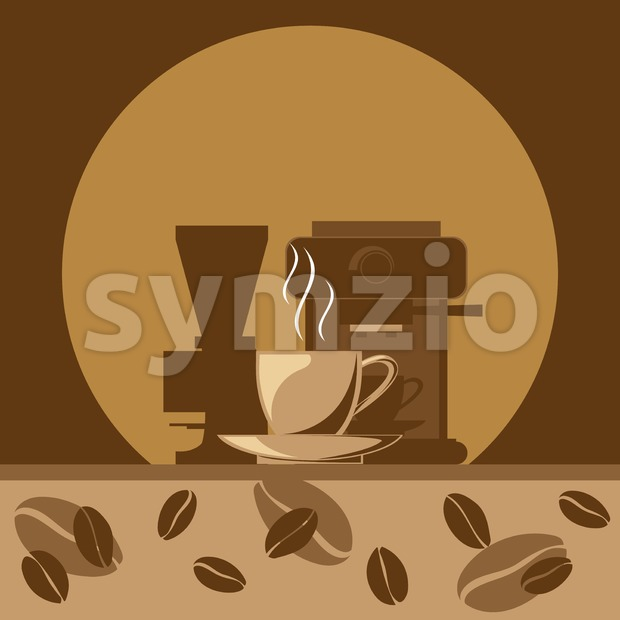 A hot cup of coffee signs and coffee making machine with beans on brown background, digital vector image