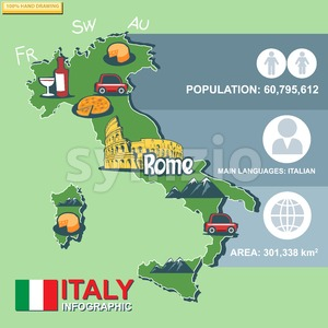 Italy, country infographic and statistical data with best sights Stock Vector