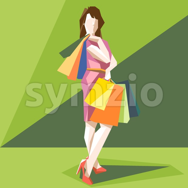 Shopping lady in a pink dress and red shoes, on a green sliced background, in big pixel style with bags, digital vector image Stock Vector