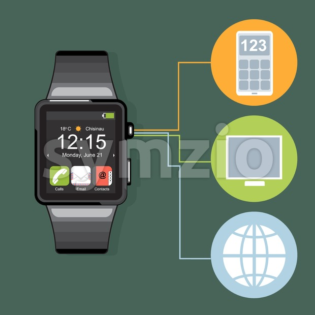 A black smart watch with time, calls, mail, contacts, battery and weather info icons on the display panel on a dark green background, digital vector Stock Vector