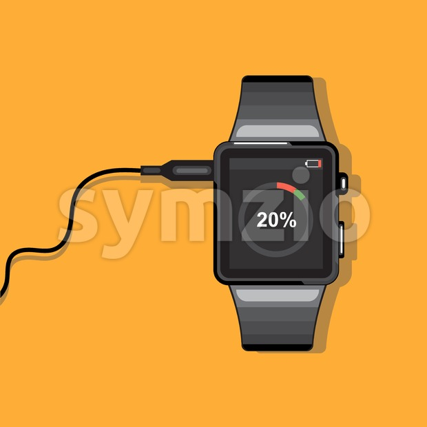 A black smart watch connected to a wire with battery status info icons on the display panel on an orange ...
