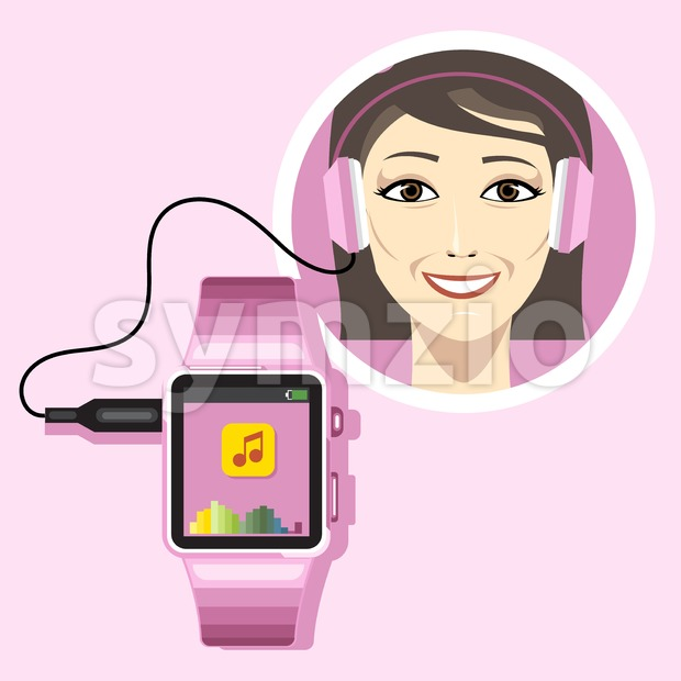 A smiling woman with an audio headset connected to a  pink smart watch with music and battery info icons on the display panel on a pink background, Stock Vector