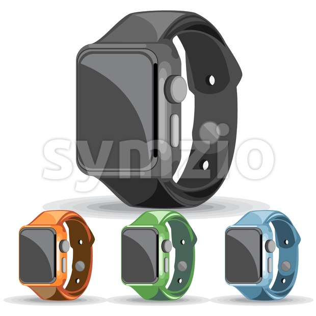 A set of black, orange, green and blue apple smart watches on a white background, digital vector image