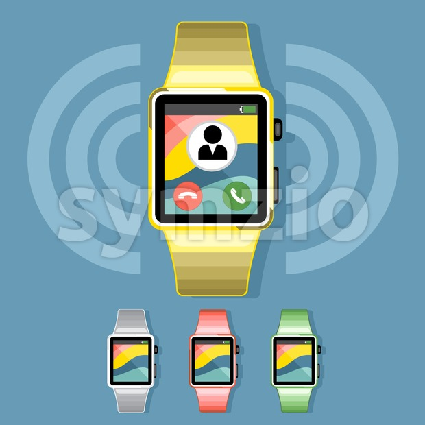 A set of yellow, silver, red and green smart watches with calls and battery info icons on the display panel on a blue background, digital vector image Stock Vector