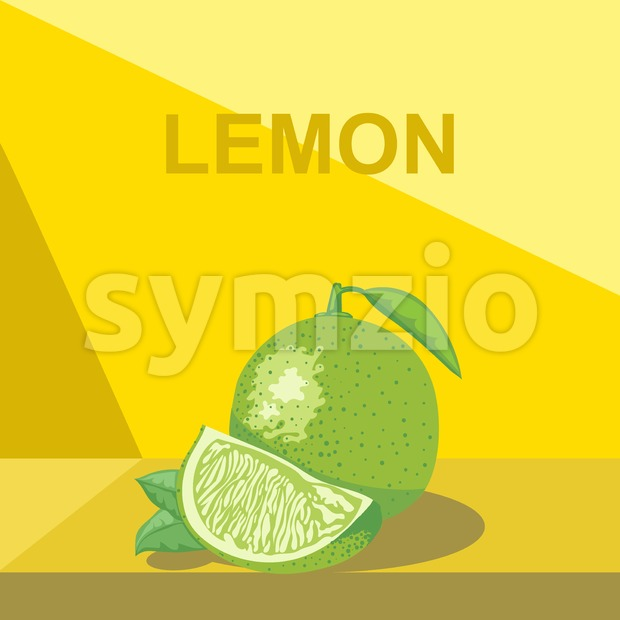 A whole big ripe lemon with green leaves and a half lemon on a table, digital vector image. Stock Vector