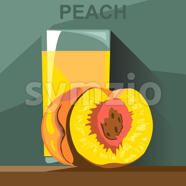 A glass of yellow peach juice and a half peach with kernel on a table, digital vector image.