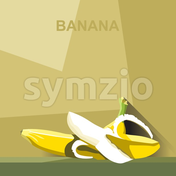 A whole big ripe banana and a peeled banana with white core on a table, digital vector image. Stock Vector