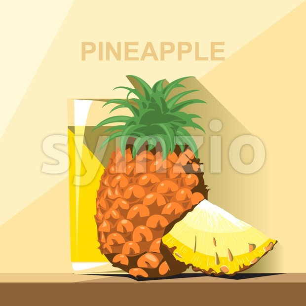 A glass of yellow pineapple juice, a whole big ripe pineapple with green leaves and a slice of pineapple on ...