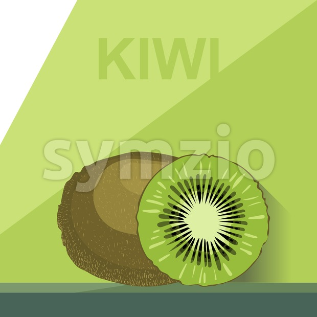 A whole big ripe kiwi and a half kiwi on a table, digital vector image. Stock Vector
