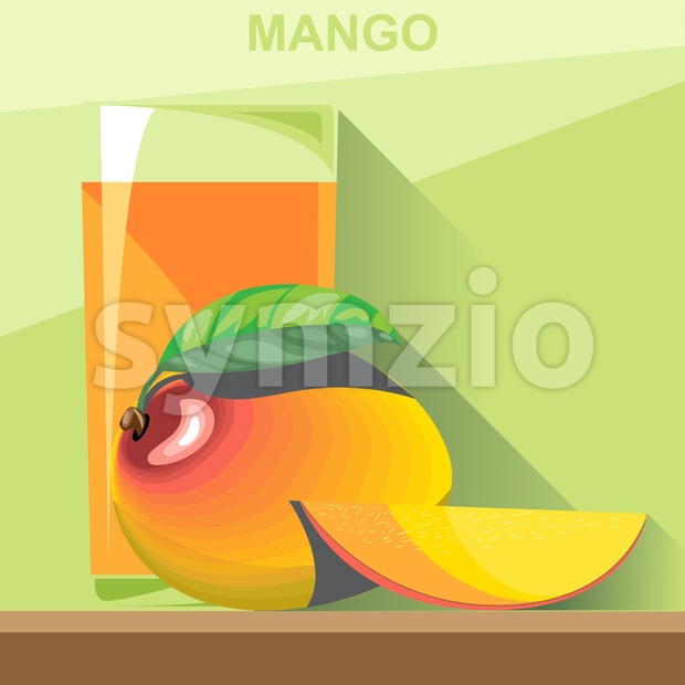 A glass of yellow mango juice, a whole big ripe mango with green leaves and a half mango on a ...