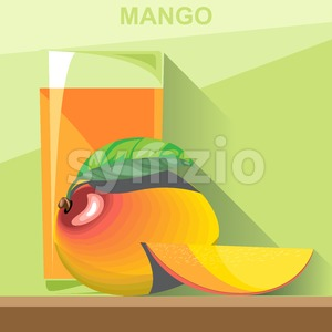 A glass of yellow mango juice, a whole big ripe mango with green leaves and a half mango on a table, digital vector image. Stock Vector