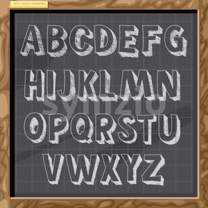 Hand drawn alphabet in white chalk style on a brown board with grid, capital letters with bevel, digital vector image Stock Vector