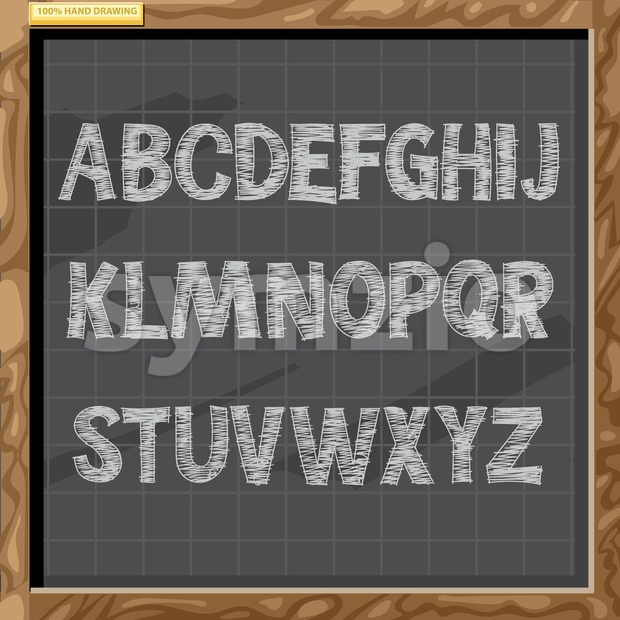 Hand drawn alphabet in white chalk style on a brown board with grid, capital letters, digital vector image Stock Vector