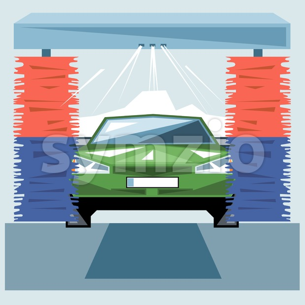 Green car wash at station with jet of water and red and blue cleaners, front view, digital vector image Stock Vector