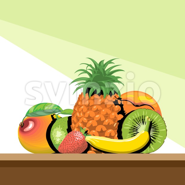 A set of fruits with shadow, pineapple, mango, peach, kiwi, banana, strawberry and lemon, digital vector image.
