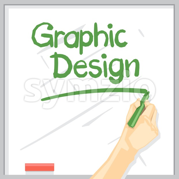 A hand with shadow drawing on a white table with green color marker, graphic design inscription with underline, digital vector image Stock Vector