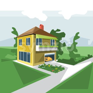 A house in 2 floors, view from perspective, with flowers at the balcony and a yellow car in the garage and green garden, digital vector image Stock Vector