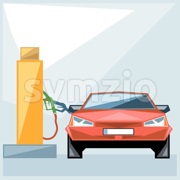 Red car at fuel station over blue background, front view, digital vector image Stock Vector