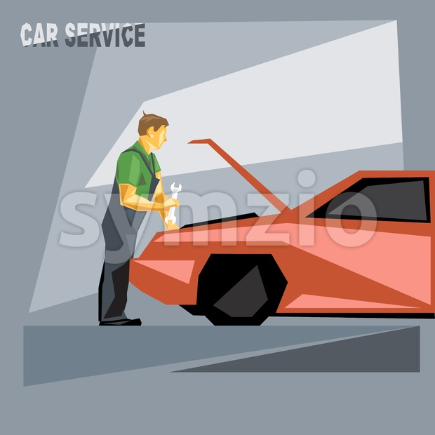 A mechanic in green and silver suit with tools, fixing a red car in car service, over silver background, digital vector image Stock Vector