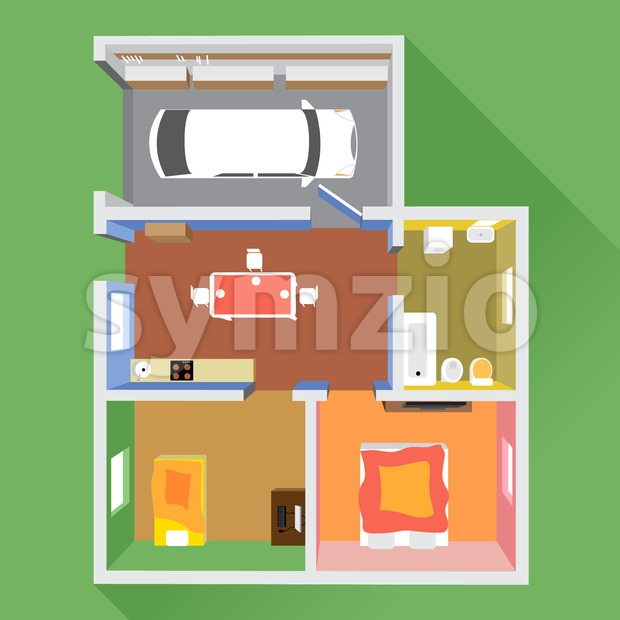 A house in section with a car in garage, a bathroom, a kitchen and 2 living rooms, top view, over ...
