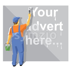 A painter in blue and orange suit with a hat painting with white paint on a wall, your advert here text, over a silver background, digital vector Stock Vector