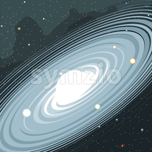 View of the galaxy in space with stars and planets. Digital vector image. Stock Vector