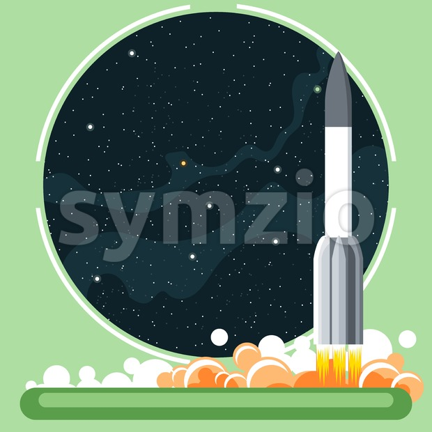 Rocket missile at launch with fire and smoke and space view. Digital vector image. Stock Vector