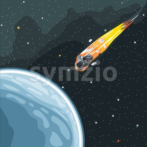 Burning comet flying in space to planet earth. Digital vector image. Stock Vector