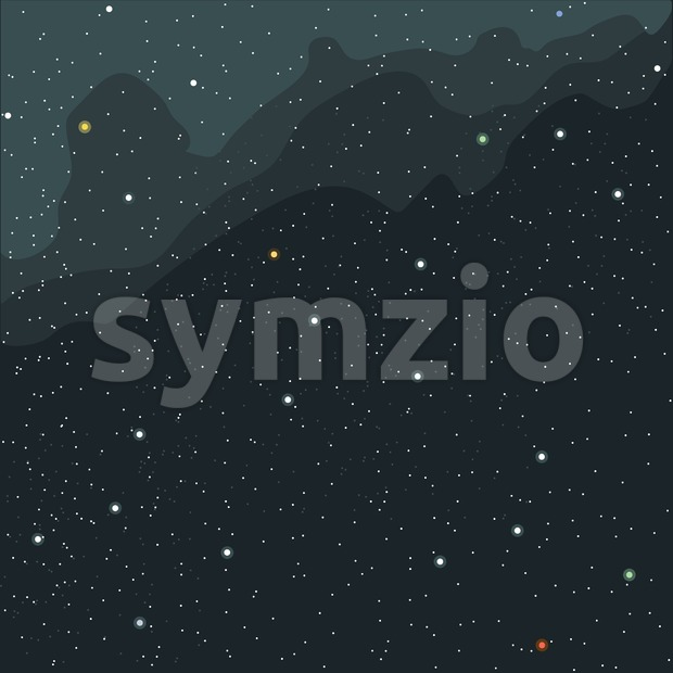 Space and cosmic view of the universe with stars, planets and galaxies. Digital vector image.