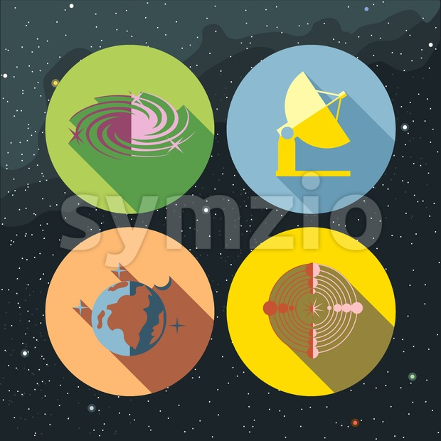 Space icons set with stars and galaxies, planet earth, antenna and radar. Digital vector image. Stock Vector