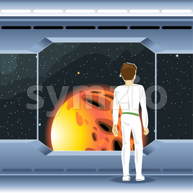 Spacecraft interior view and window to space and sun. Cosmonaut looking to another planet. Digital vector image. Stock Vector
