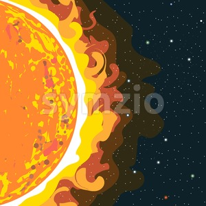 Hot sun view in section with heat and radiation. Digital vector image. Stock Vector