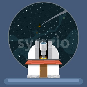 A new telescope with antennas and view to space and stars. Digital vector image. Stock Vector