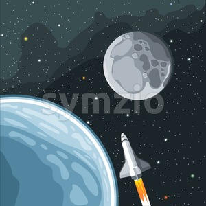 Spaceship mission to moon. Eart and moon view in space. Digital vector image. Stock Vector