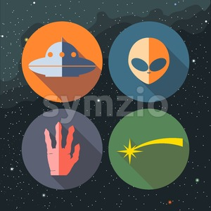 Unidentified flying objects icons set with ship, alien, hand and star path. Digital vector image. Stock Vector