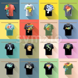 Shirt collection set with colored logo with triangles and text on hanger in wardrobe. Abstract, usa, brazil, canada, america, russia, italy, germany, Stock Vector
