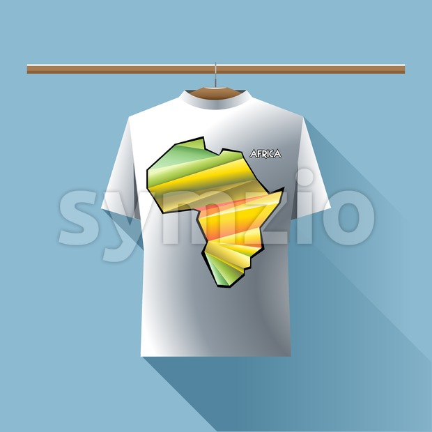 Abstract silver shirt with africa colored logo with triangles and text on a hanger in wardrobe over blue background. Digital ...