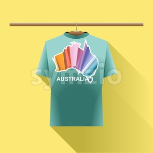 Aqua shirt with colored australia logo country on a hanger in wardrobe over yellow background. Digital vector image Stock Vector