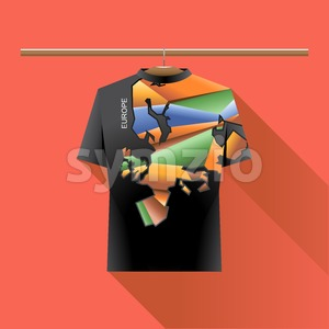 Abstract black shirt with europe colored logo with triangles and text on a hanger in wardrobe over red background. Digital vector image Stock Vector