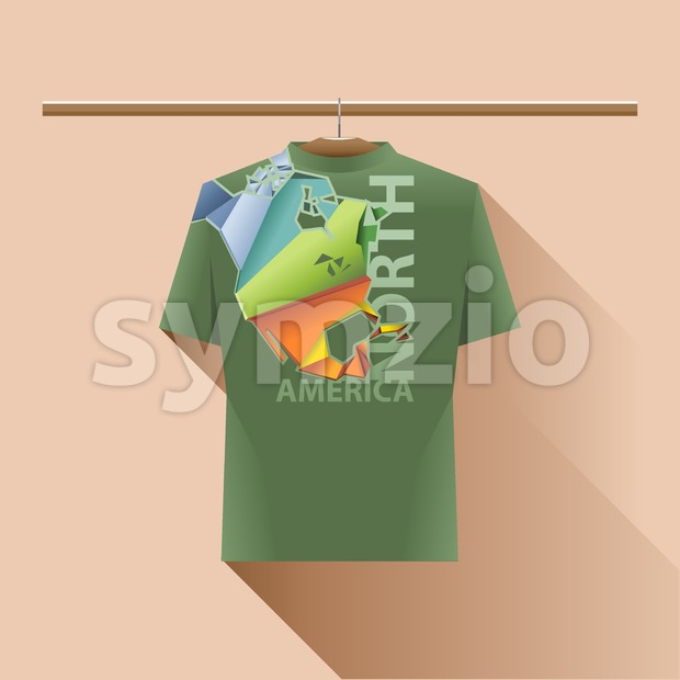 Abstract green shirt with north america colored logo with triangles and text on a hanger in wardrobe over light peach background. Digital vector image Stock Vector