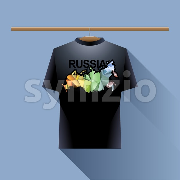 Black shirt with colored russia logo country on a hanger in wardrobe over blue background. Digital vector image Stock Vector