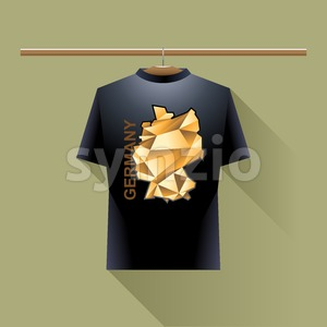 Black shirt with orange germany logo country on a hanger in wardrobe over light background. Digital vector image Stock Vector