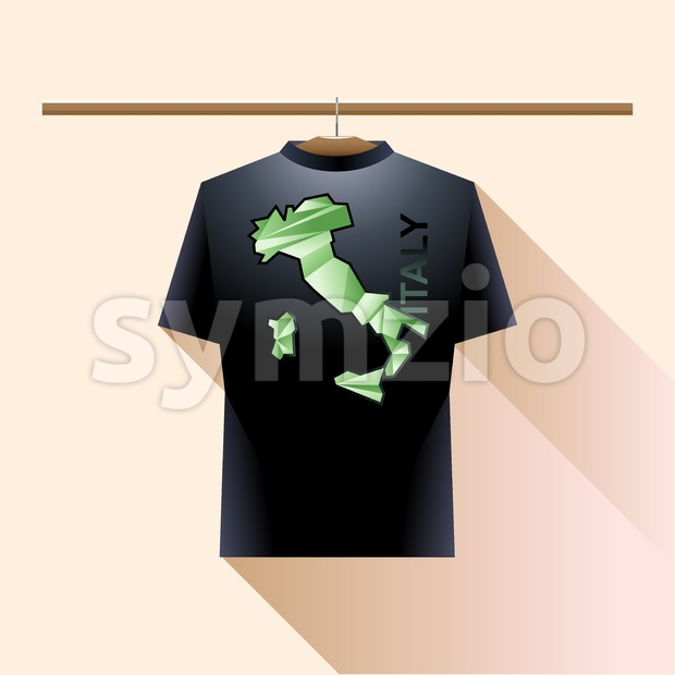 Black shirt with green italy logo country on a hanger in wardrobe over light background. Digital vector image Stock Vector