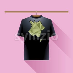 Black shirt with green france logo country on a hanger in wardrobe over pink background. Digital vector image. Stock Vector