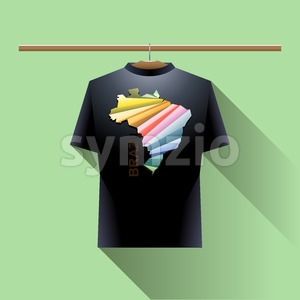 Black shirt with colored brazil logo country on a hanger in wardrobe over green background. Digital vector image. Stock Vector